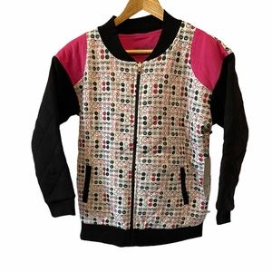 GIRLS NWT VEENA Eye Print Quilted Cotton Bomber